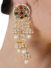 Load image into Gallery viewer, Navratan Patchi Kundan Earrings