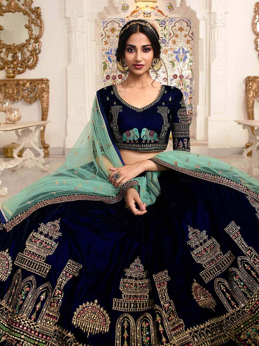 Navy Blue Semi-Stitched Heavy Embroidered Lehenga Choli Set - The Wedding Brigade