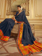 Load image into Gallery viewer, Navy Embroidery Solid Saree