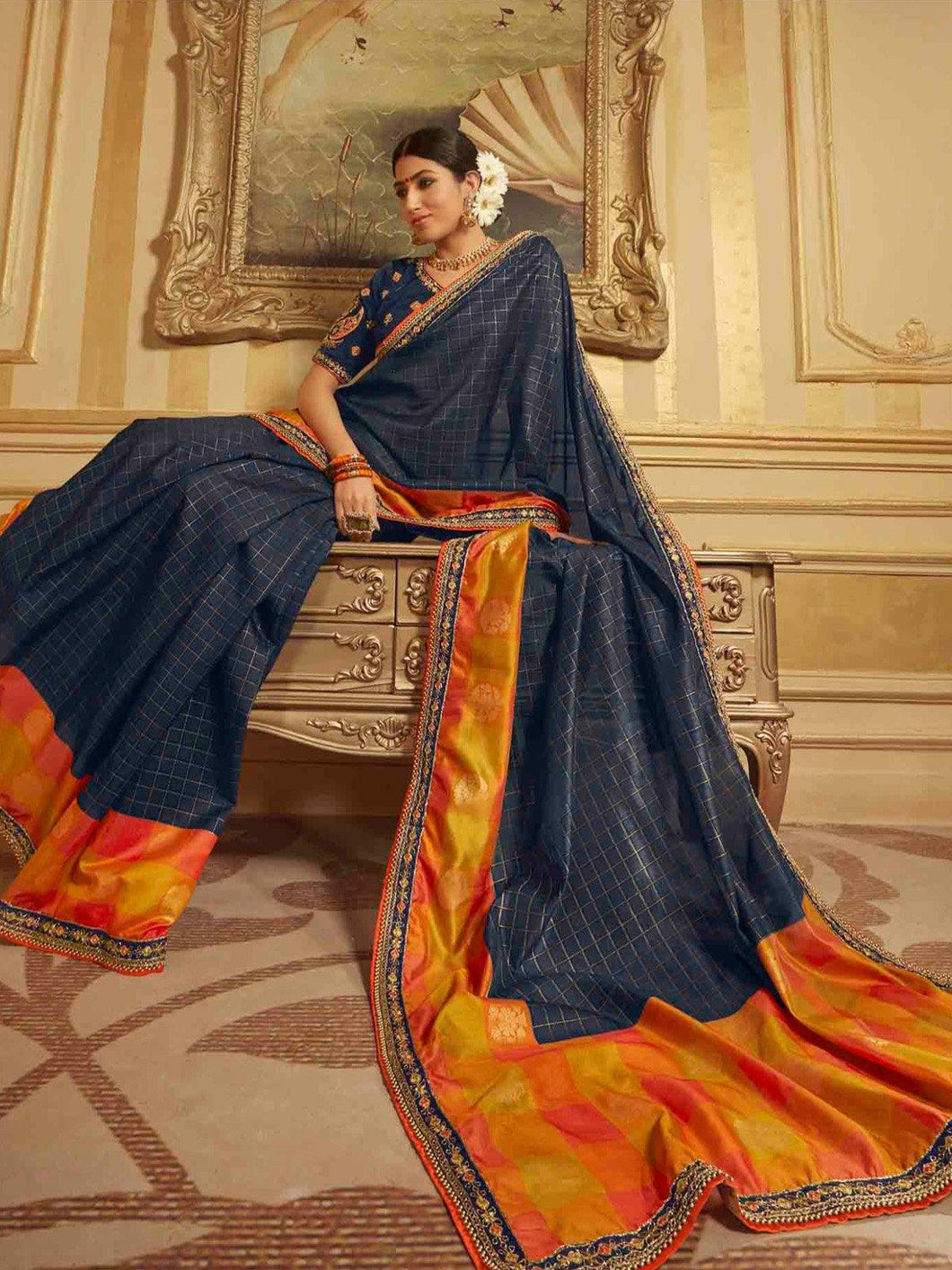 Navy Embroidery Solid Saree