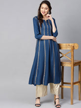 Load image into Gallery viewer, Navy Hand Block Print Kurta