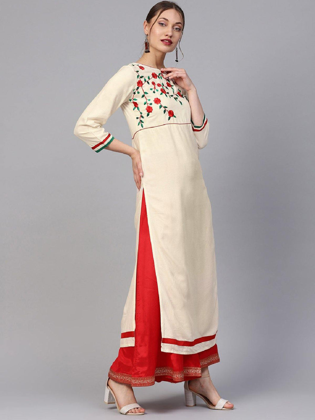 Off White Embroidered Kurta