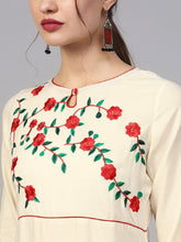 Load image into Gallery viewer, Off White Embroidered Kurta