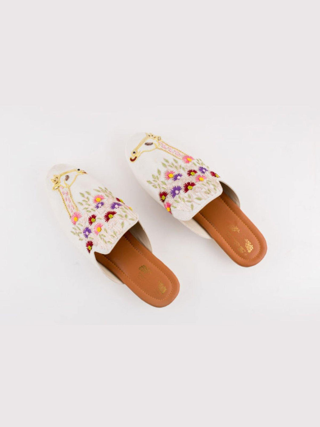 Off White Floral Embroidered Mules