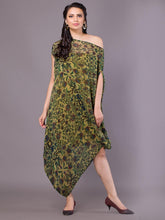 Load image into Gallery viewer, Olive Printed Off Shoulder Dress