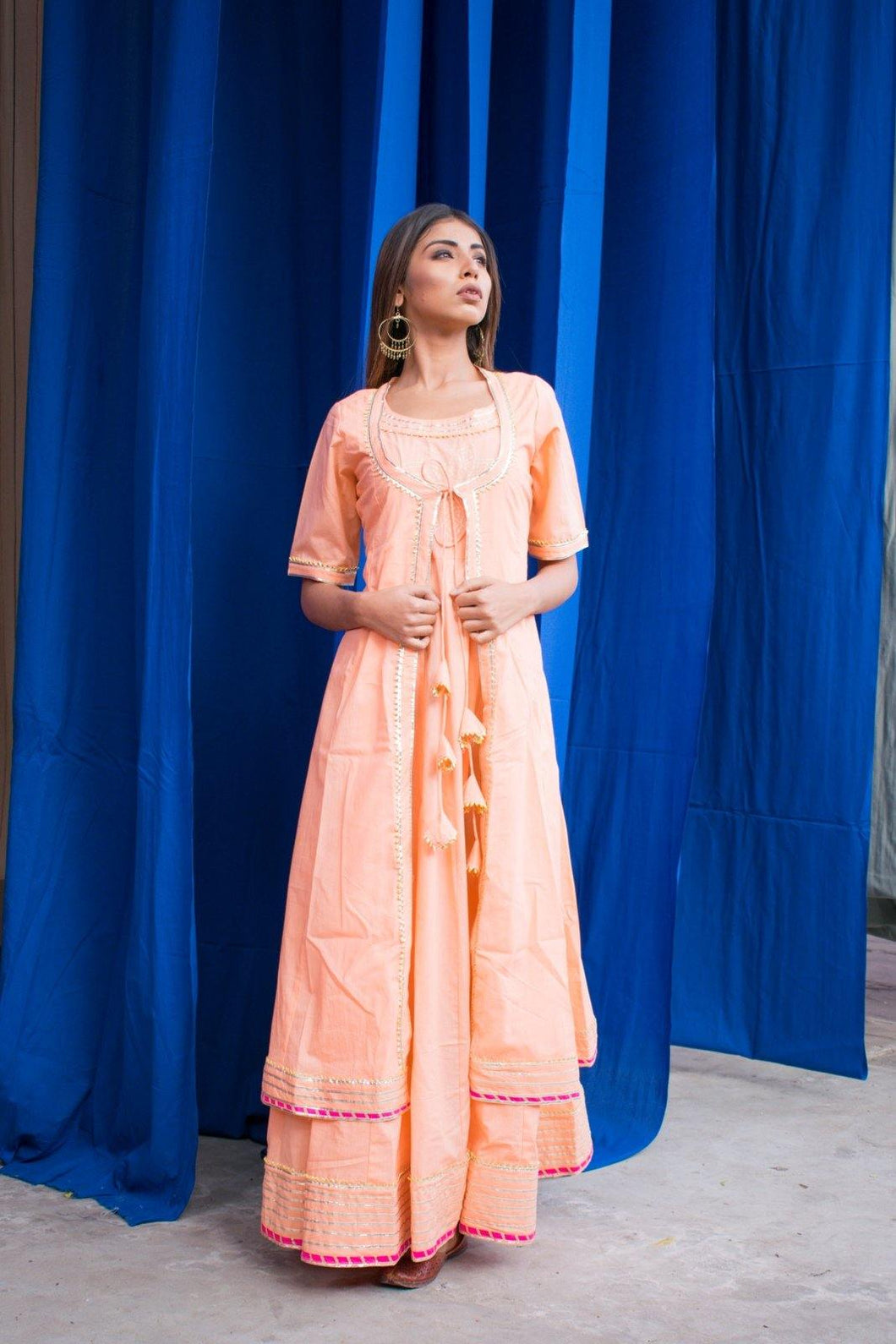 Omaana Block Printed Peach Kurta and Jacket
