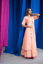 Load image into Gallery viewer, Omaana Block Printed Peach Kurta and Jacket