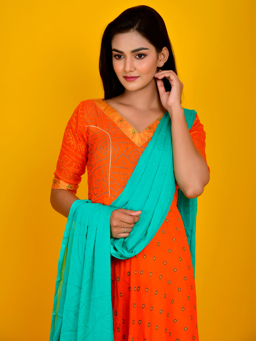 Orange Bandhani Flared Anarkali