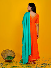 Load image into Gallery viewer, Orange Bandhani Flared Anarkali