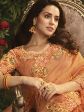 Load image into Gallery viewer, Orange Embellished Saree - The Wedding Brigade