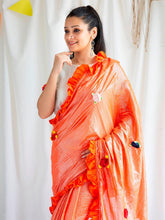 Load image into Gallery viewer, Orange Shimmer Saree