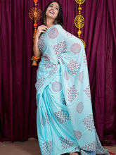 Load image into Gallery viewer, Paisley Print Blue Saree