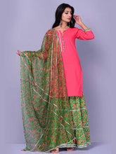 Load image into Gallery viewer, Peach and Green Gharara Set