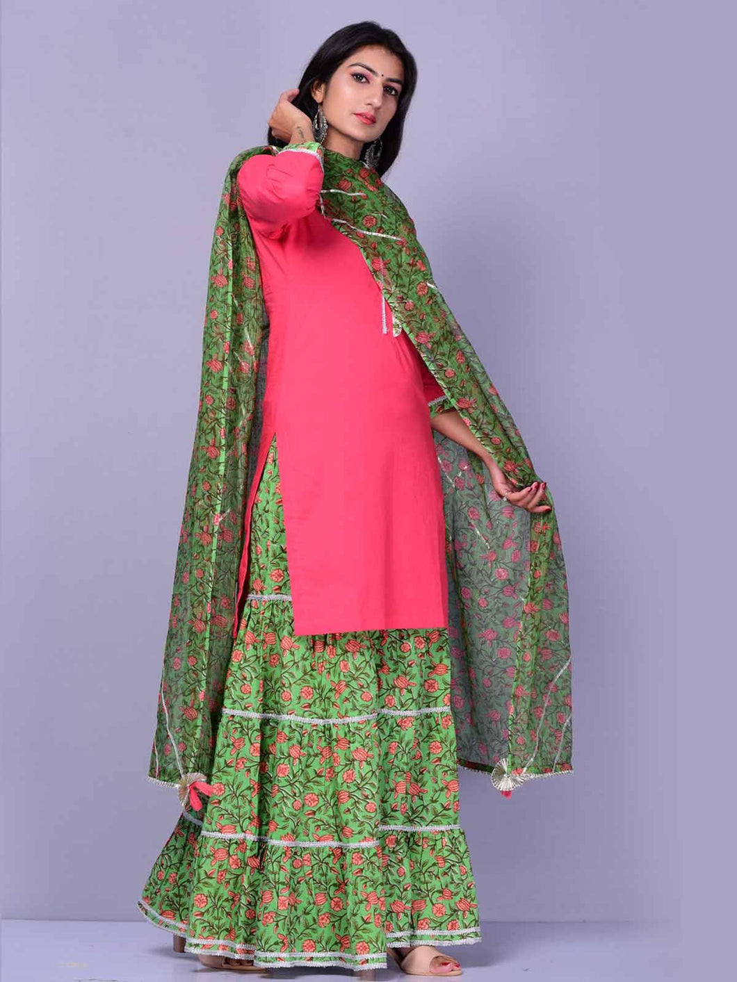 Peach and Green Gharara Set