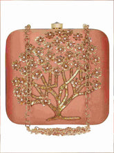 Load image into Gallery viewer, Peach Embroidered Clutch
