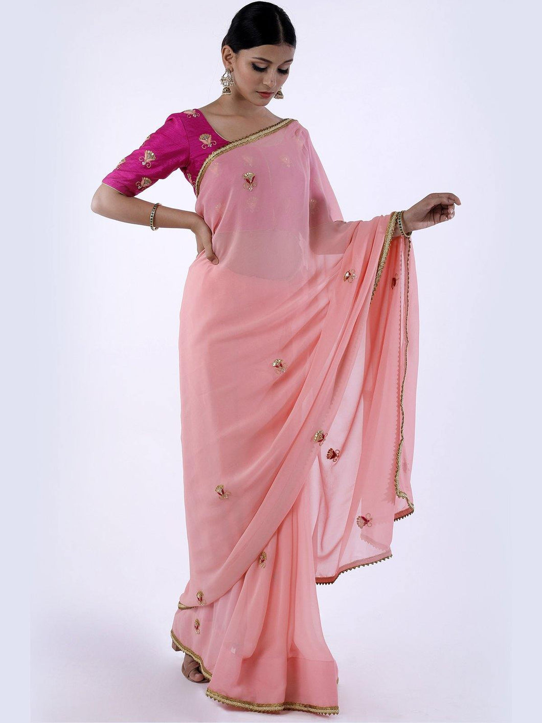 Peach Gota Patti Saree with Unstitched Blouse