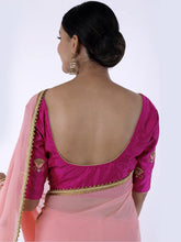 Load image into Gallery viewer, Peach Gota Patti Saree with Unstitched Blouse