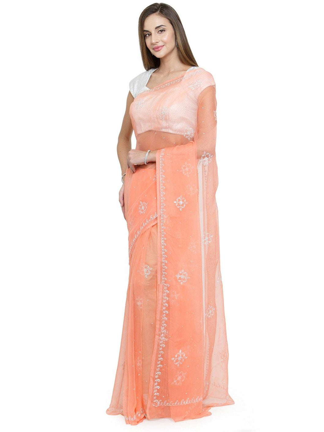 Peach Hand Crafted Jaal Saree