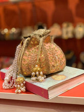 Load image into Gallery viewer, Peach Lotus Potli Bag Orange