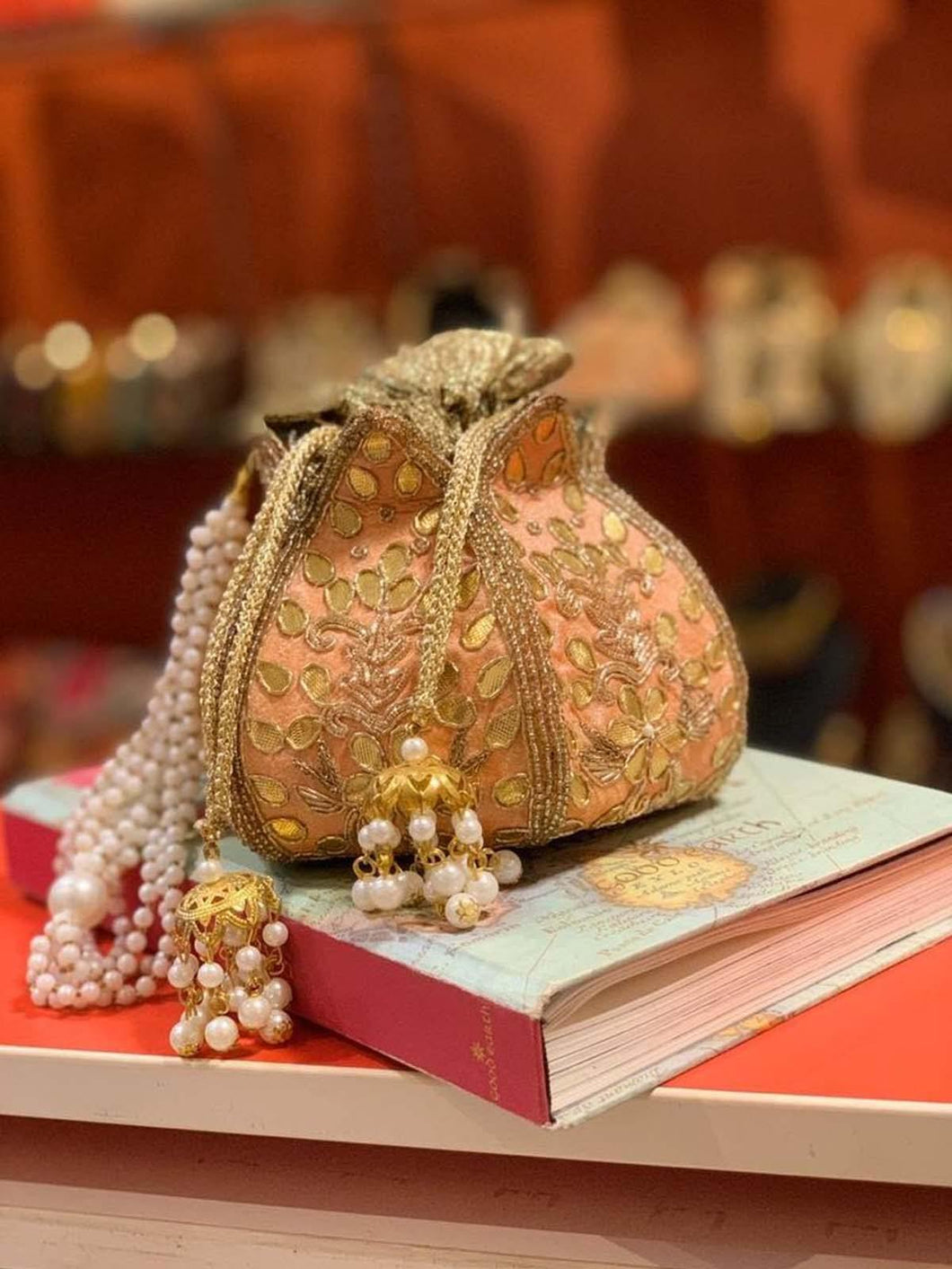 Peach Lotus Potli Bag Orange