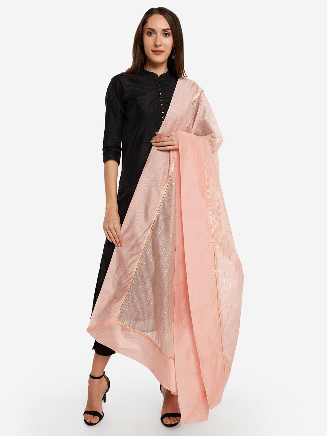 Peach Solid Dupatta - The Wedding Brigade
