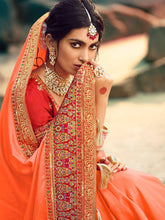 Load image into Gallery viewer, Peach Zari Embroidered Saree