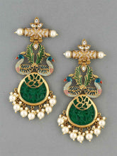 Load image into Gallery viewer, Peacock Green Drop Earrings