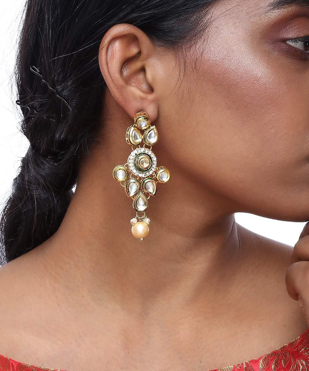 Pear Shaped Kundan Earrings