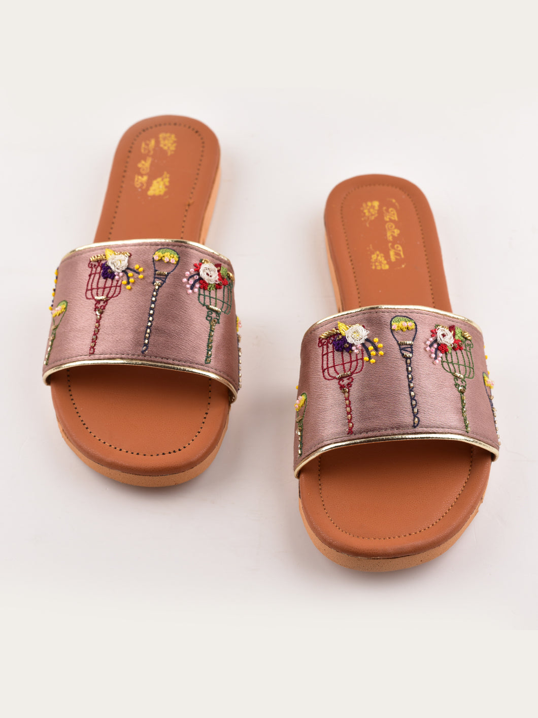 Pink and Brown Embroidered Slip Ons