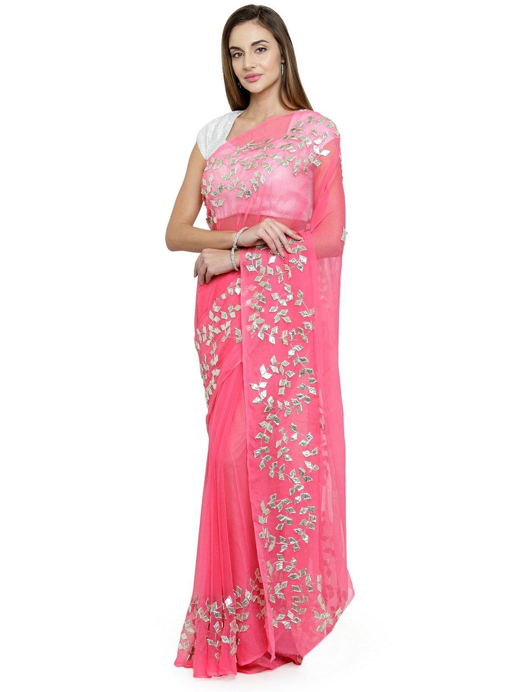 Pink Embellished Saree - The Wedding Brigade