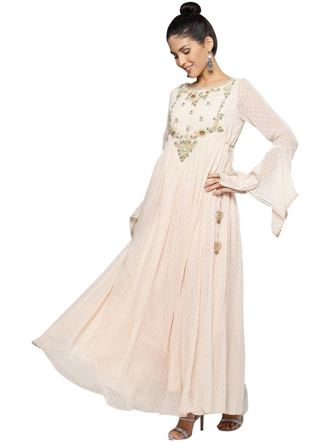 Pink Embroidered Anarkali Kurta