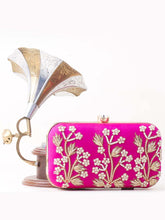 Load image into Gallery viewer, Pink Embroidered & Embellished Clutch
