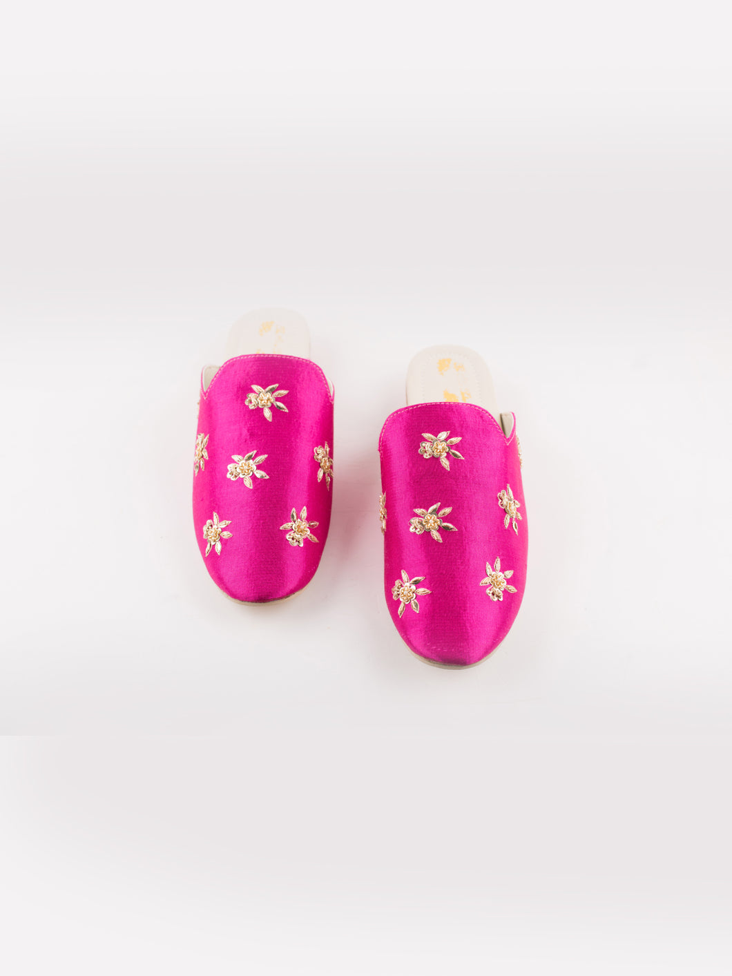 Pink Embroidered Mules
