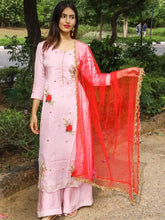 Load image into Gallery viewer, Pink Embroidered Palazzo Set