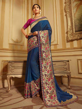 Load image into Gallery viewer, Pink Embroidered Solid Saree