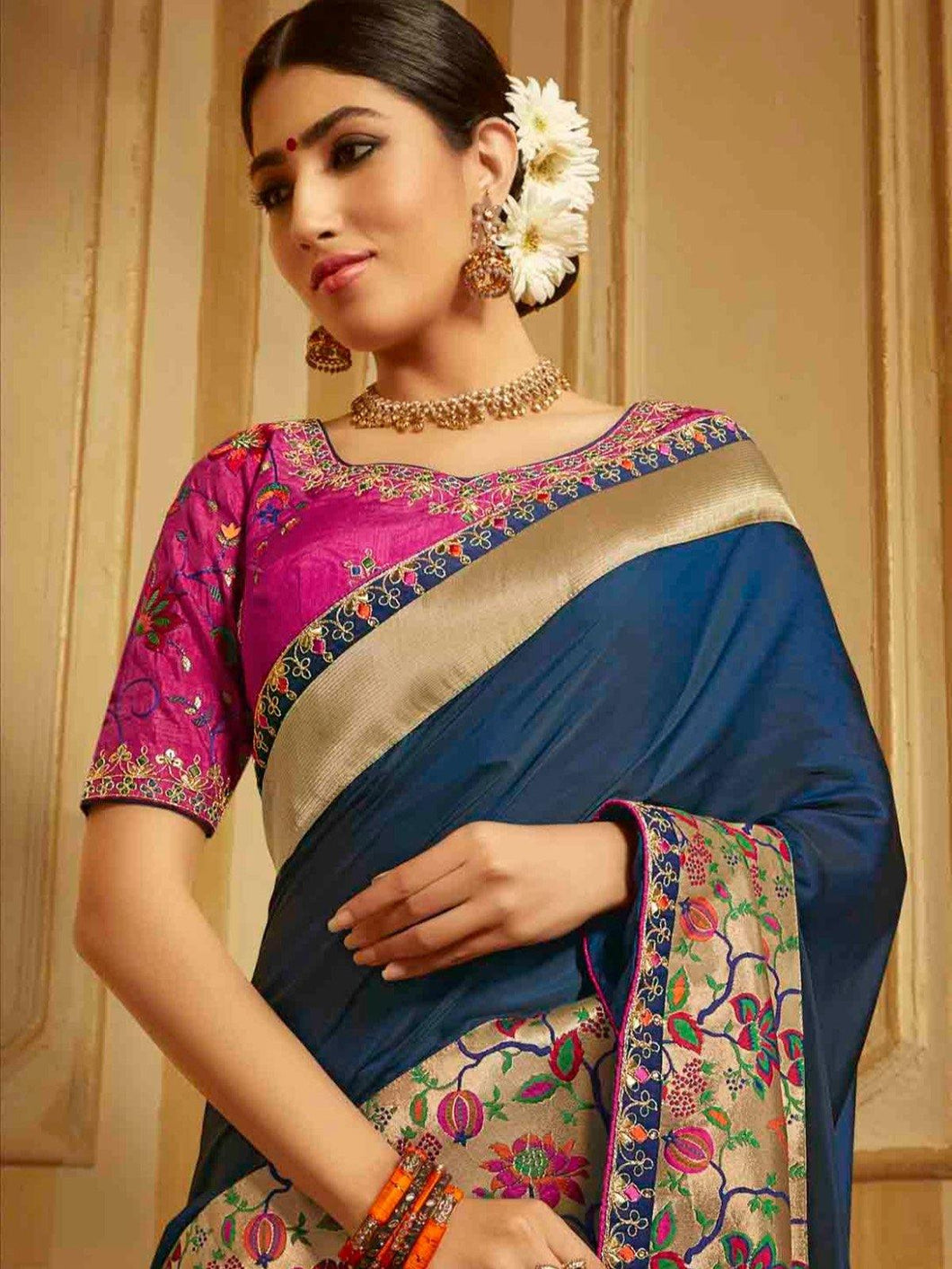 Pink Embroidered Solid Saree