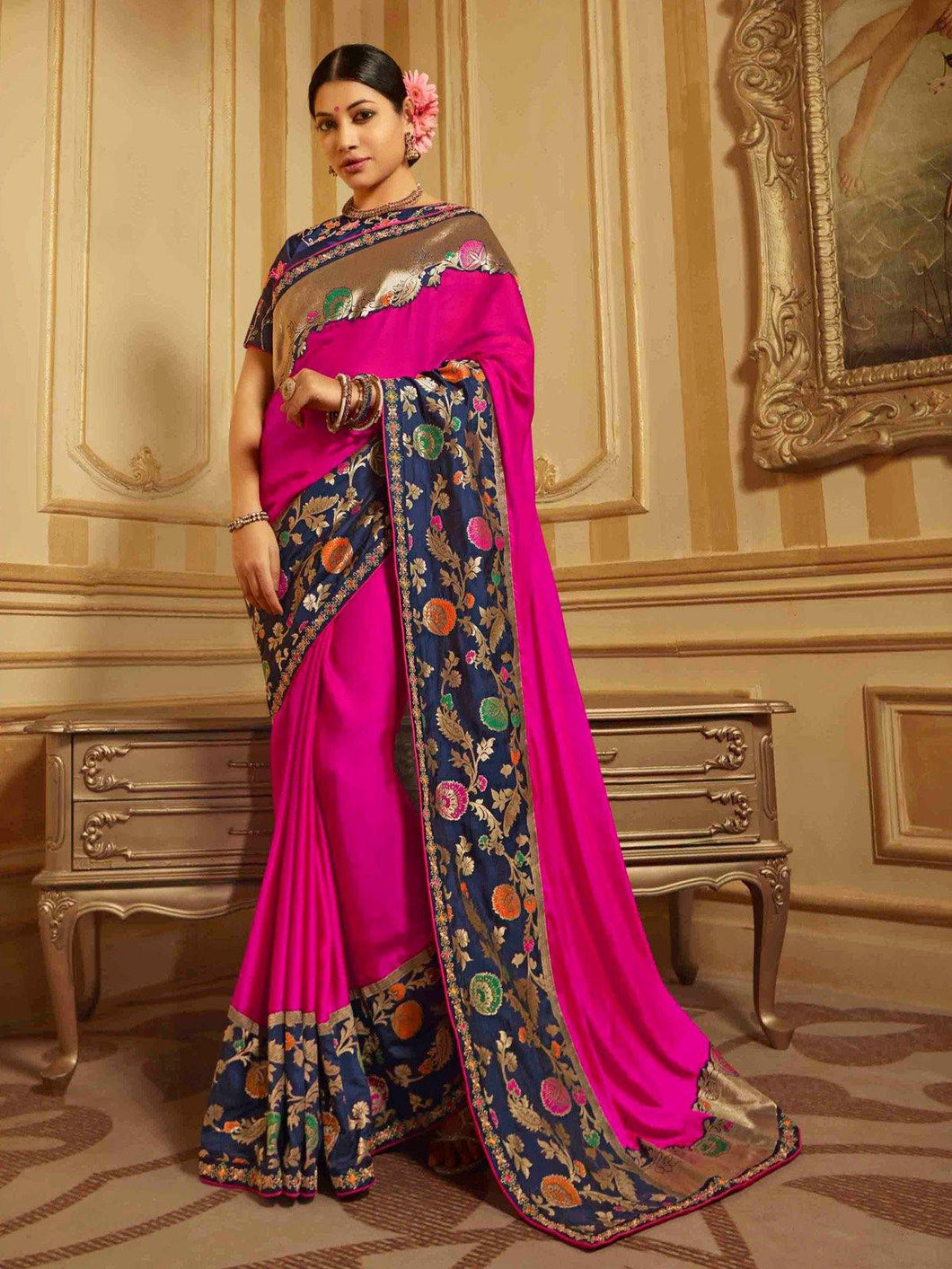 Pink Embroidery Solid Saree - The Wedding Brigade