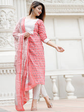 Load image into Gallery viewer, Pink Floral Kurta Pant Set
