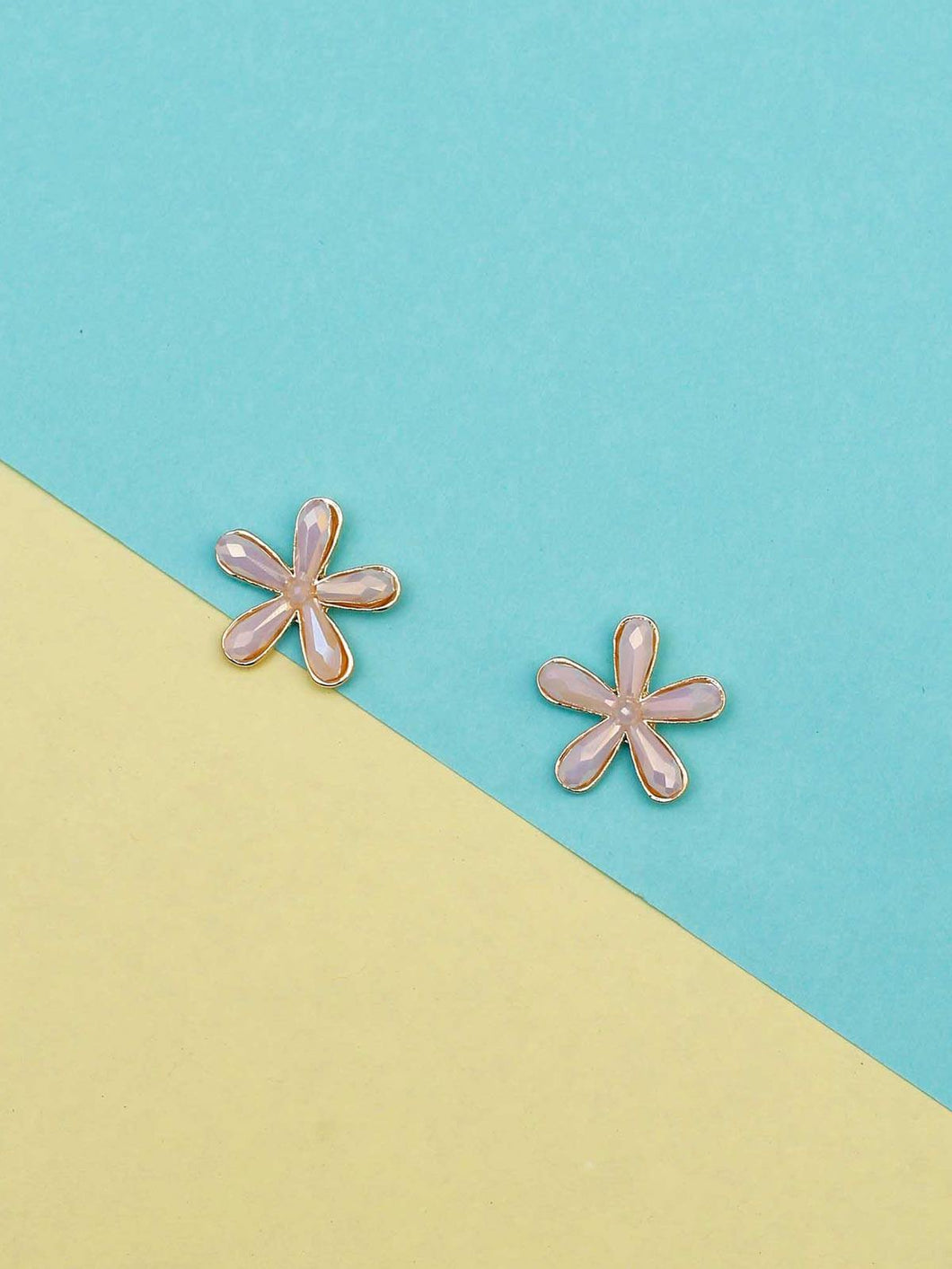 Pink Flower Shaped Studs