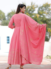 Load image into Gallery viewer, Pink Hand Block Kurta Pant Set