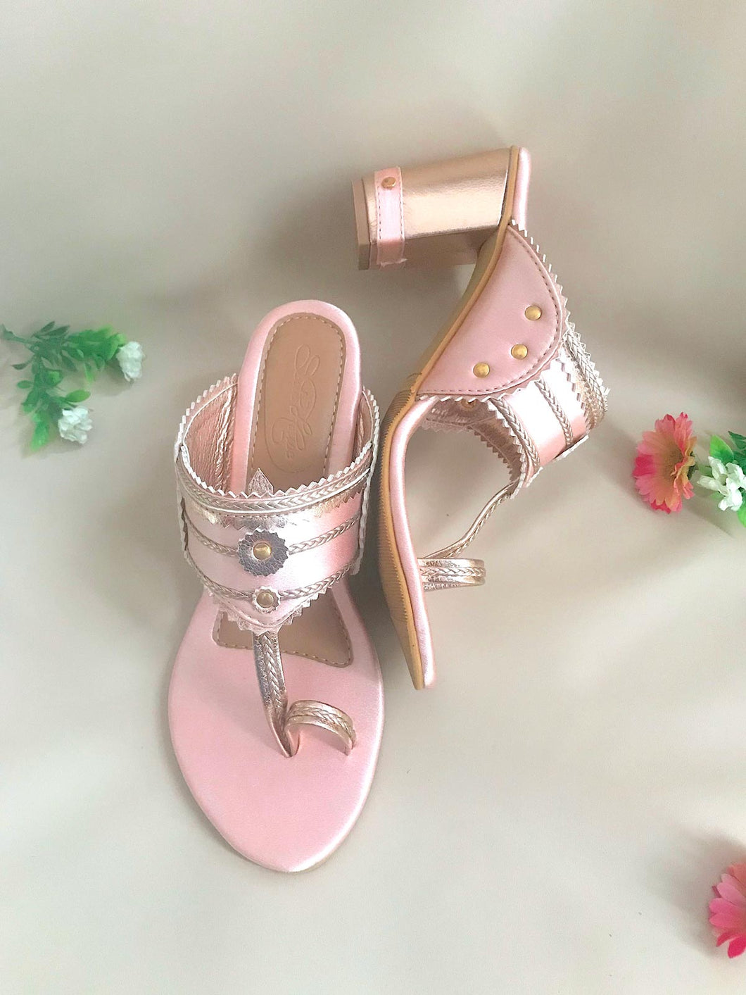 Pink Hand Embroidered Heels