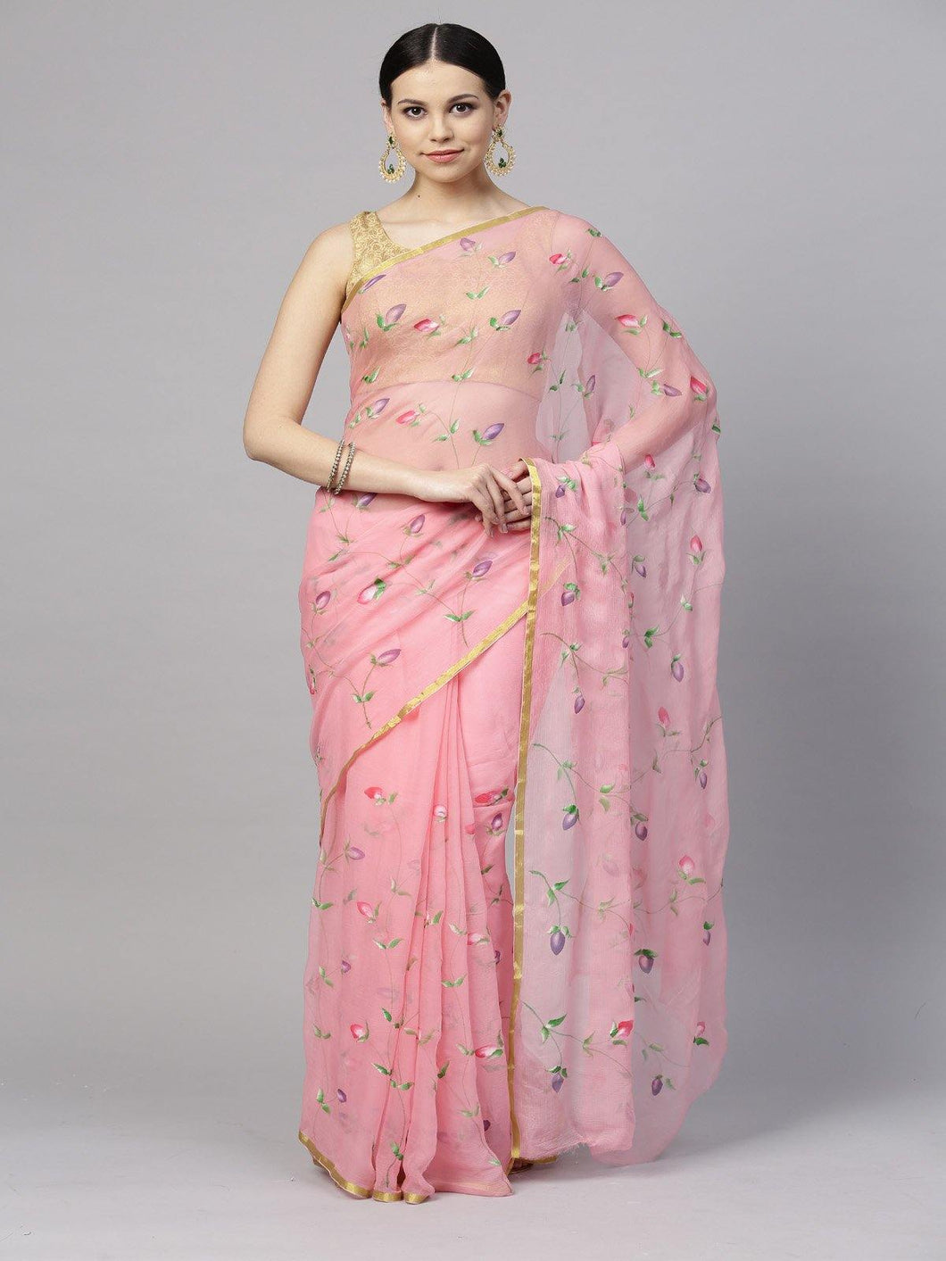 Pink Hand Painted Chiffon Saree - The Wedding Brigade
