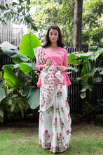 Load image into Gallery viewer, Pink Hibiscus Block Printed Saree