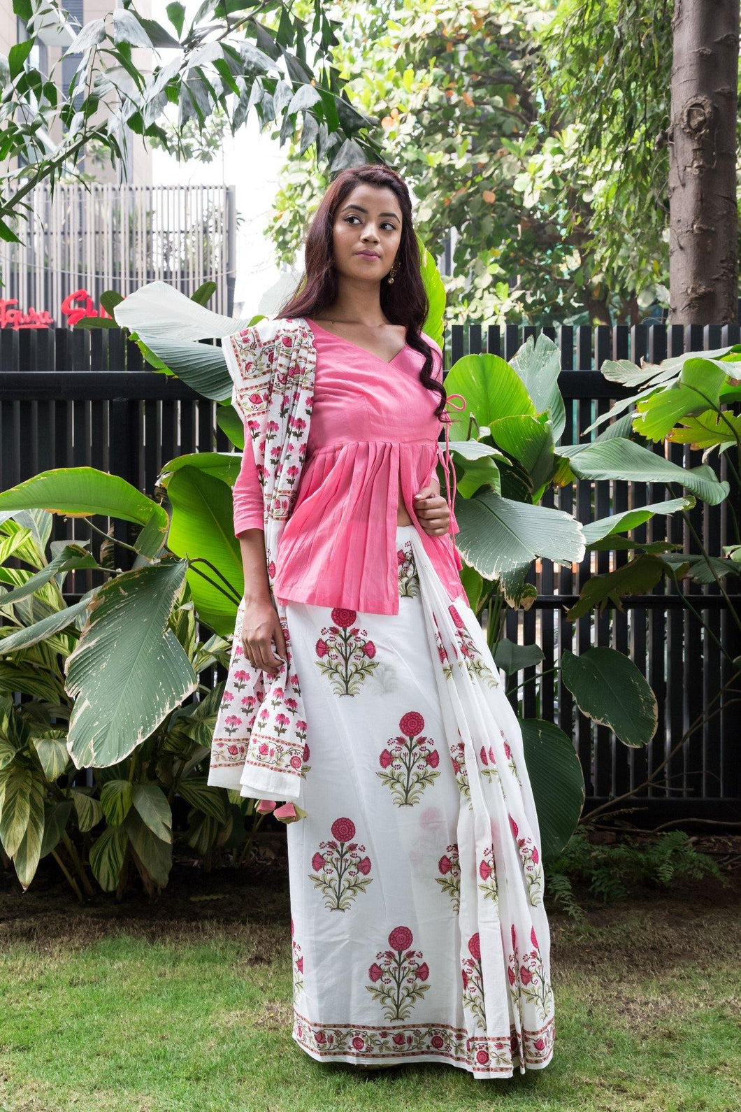 Pink Hibiscus Block Printed Saree