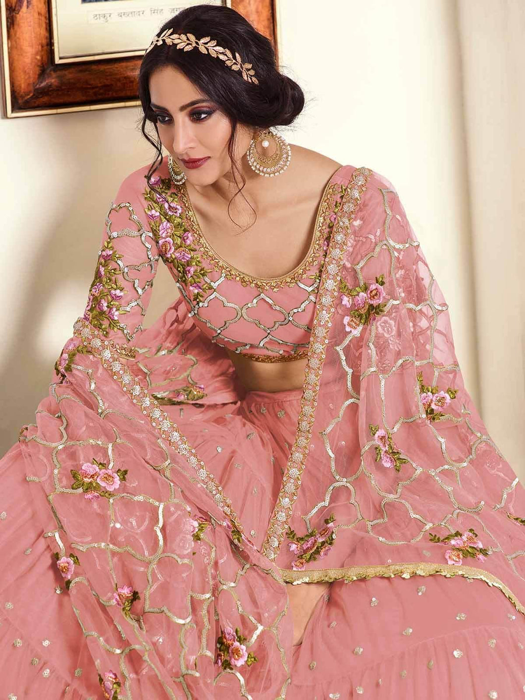 Pink Semi-Stitched Sequined Lehenga Choli Set