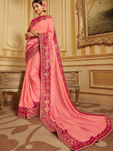 Load image into Gallery viewer, Pink Solid Embroidered Saree