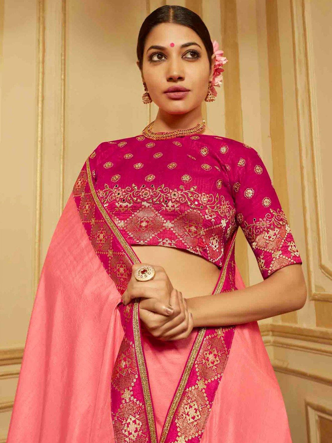 Pink Solid Embroidered Saree