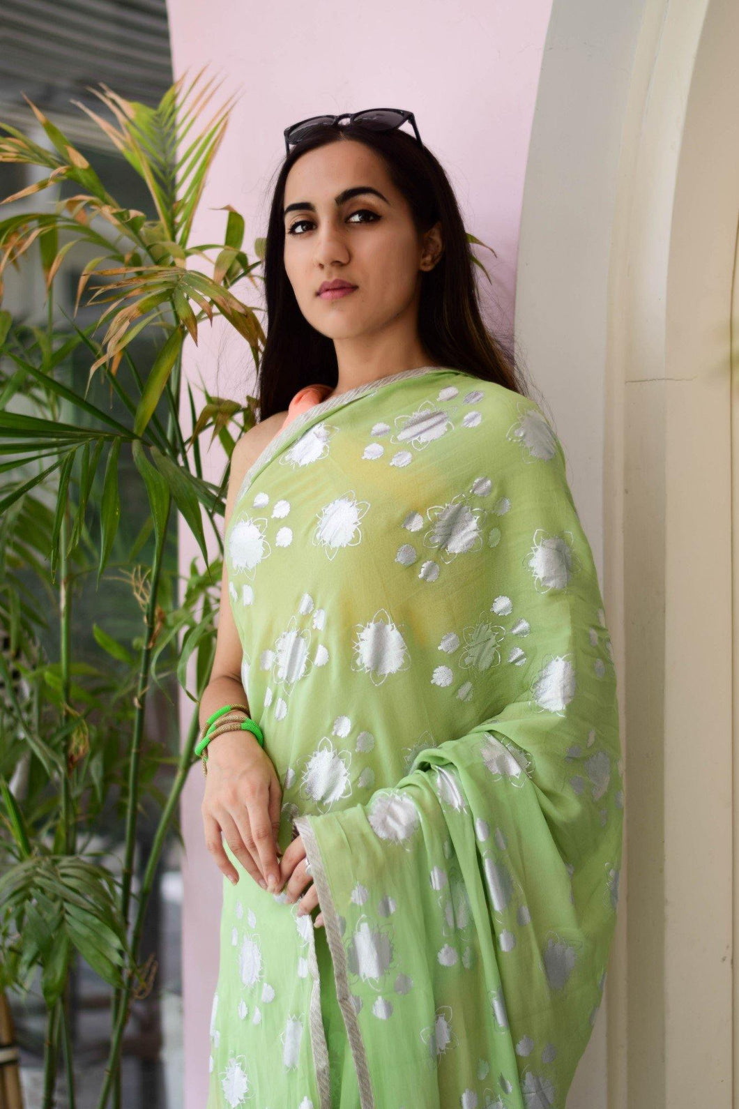Pista Green Foil Print Saree with Peach Unstitched Blouse