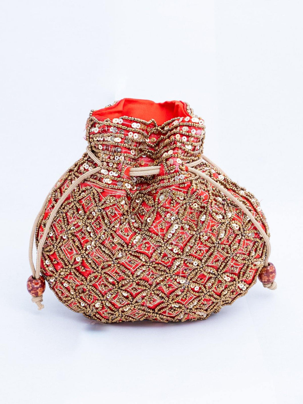 Red Sequin and Beads Potli Bag