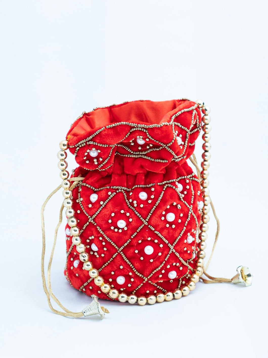 Red Pearl Embroidered Potli Bag